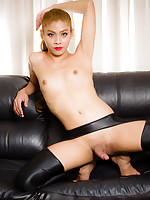 Gorgeous Tess has a smoking hot body, small natural breats, a magnificent ass and a rock hard cock! See this lovely tgirl masturbating and cumming for you!
